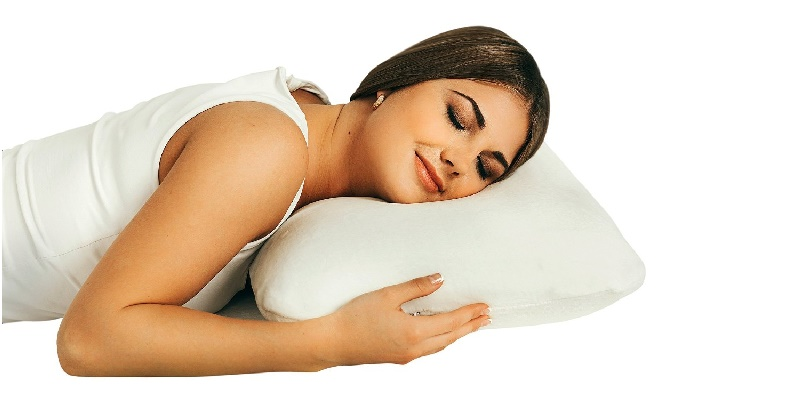 woman on memory foam pillow